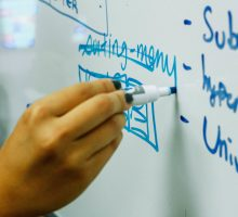 Photo: hand writing on a whiteboard with a marker